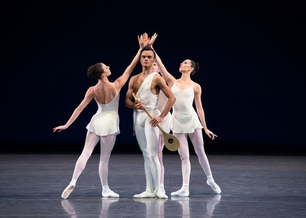 Taylor Stanley with Tiler Peck, Indiana Woodward, and Brittany Pollack in George Balanchine's <em>Apollo</em>. Photo: Erin Baiano.