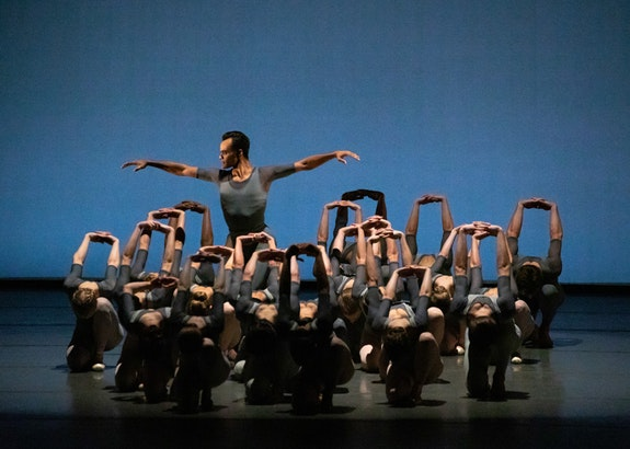 Taylor Stanley and the Company in Justin Peck's <em>Principia</em>. Photo: Erin Baiano.