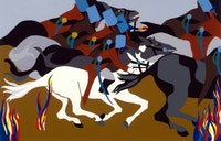 Jacob Lawrence, <em>Toussaint at Ennery</em>, 1989. Silkscreen on paper, 18 5/8 x 29 inches. Courtesy DC Moore, New York.
