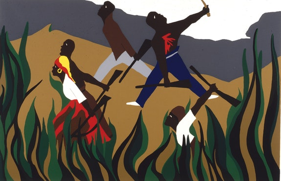 Jacob Lawrence, <em>To Preserve Their Freedom</em>, 1988. Silkscreen on paper, 18 1/2 x 28 3/4 inches. Courtesy DC Moore, New York.