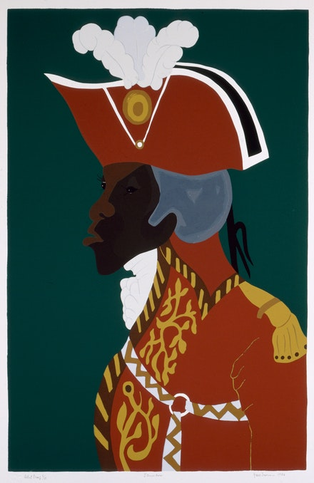 Jacob Lawrence,<em> General Toussaint L'Ouverture</em>, 1986. Silkscreen on paper, 28 3/8 x 18 1/2 inches. Courtesy DC Moore, New York.