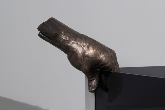 Daniel G. Baird, <em>Vessel (Left)</em>, 2019. Cast bronze and patina, 12 x 7 x 5 inches. Courtesy the artist and PATRON Gallery.