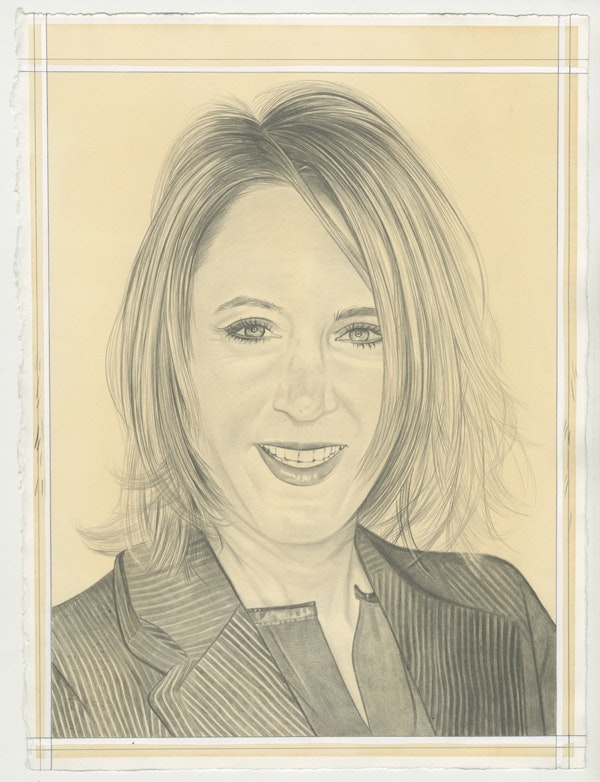 Portrait of Kathleen Landy, pencil on paper by Phong Bui.