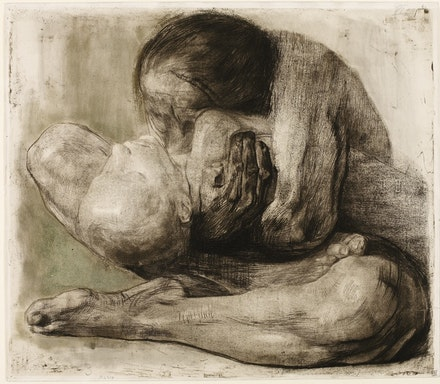 Käthe Kollwitz, <em>Woman with a dead child</em>, 1903, line etching, drypoint, emery and vernis mou with printing of handmade paper and Ziegler'schem transfer paper, with gold-colored, injected clay stone.