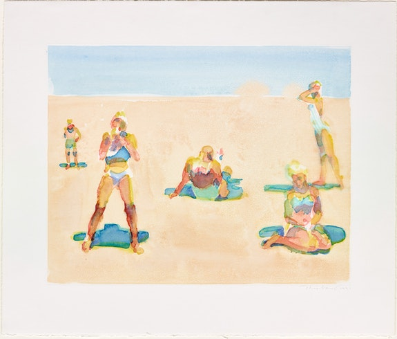 Wayne Thiebaud, <em>Untitled (Five Beach Figures)</em>, 1991. Watercolor monotype, 21 x 24 3/4 inches. Courtesy Paul Thiebaud Gallery.