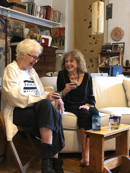 Alison Knowles and Carolee Schneemann. October 16th, 2018 at Alison Knowles's loft. Photo: Jessica Higgins.