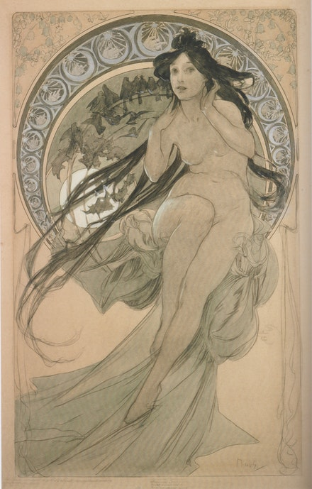 Alphonse Mucha (1860-1939), <em>La Musique</em>, 1898. Study for the series <em>The Arts</em>. Graphite and watercolor on paper, 56 x 34.8 cm. Fondation Mucha.