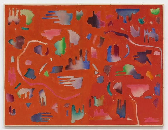 Robert Duran, <em>Little Red Rooster</em>, 1969. Acrylic on canvas, 89 1/4 x 117 inches. Courtesy Karma, New York.