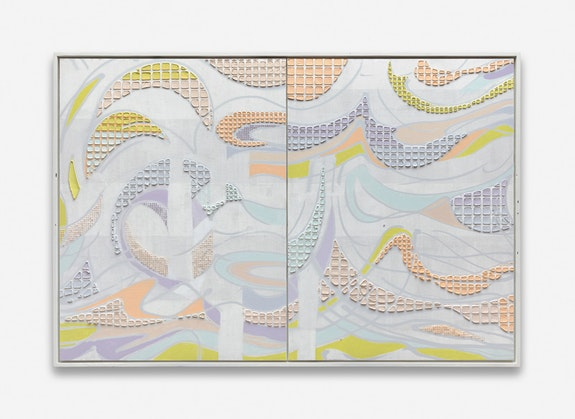 Keltie Ferris, <em>Hydra</em>, 2019. Acrylic on canvas in artist's frame. 83.25 x 123.75 x 3 inches. Courtesy the artist.