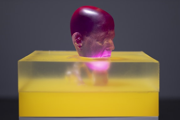Rona Pondick, <em>Magenta Swimming in Yellow</em>, 2015–17. Pigmented resin and acrylic, 14 x 17 x 17 inches. Courtesy Zevitas Markus.