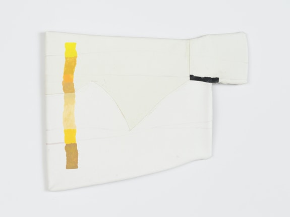 Linnea Kniaz, <em>Yellow, Fitting Into</em>, 2019. Acrylic on canvas stretched onto vinyl tubing, 22 1/2 x 29 inches. Courtesy Magenta Plains.