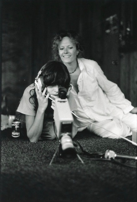 Delphine Seyrig and Carole Roussopoulos record video. Courtesy the filmmaker.