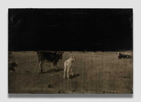 Joe Andoe, <em>Untitled (Calves)</em>, 2001. Oil on linen, 34 x 50 inches. &copy; Joe Andoe. Photo: Matt Kroening. Courtesy the artist and Almine Rech.