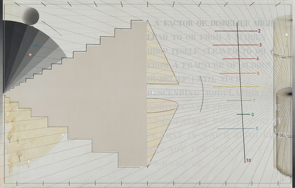 Arakawa, <em>That In Which No. 2</em>, 1974–1975. Acrylic, graphite, and marker on canvas, 65 x 102 inches. © Estate of Madeline Gins. Reproduced with permission of the Estate of Madeline Gins. Photo: Rob McKeever. Courtesy Gagosian.