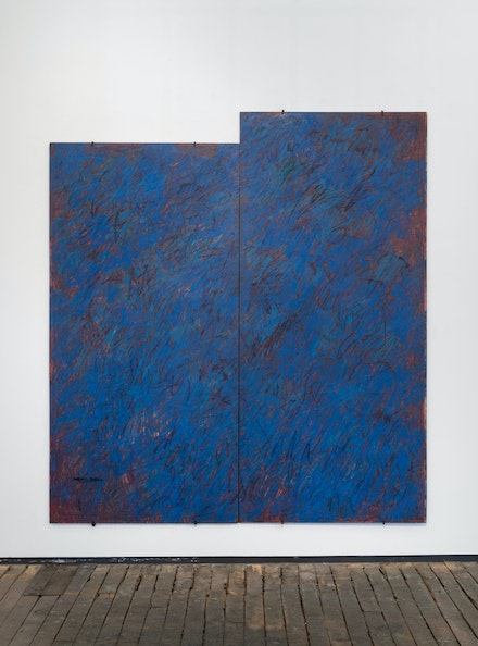 Merrill Wagner, <em>Revisions</em>, 1982. Oil pastel on slate, 2 pieces, 79 x 72 inches. Courtesy Z¨rcher Gallery.