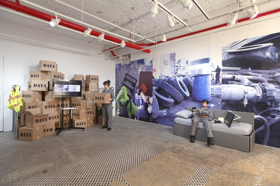 Brett Wallace, <em>Working Conditions</em>, Installation, NURTUREart Gallery, New York, 2019. Performers: Mischa Ipp and Ben Dawson. Photo: David Riley