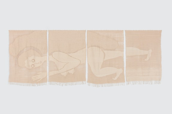 Christina Forrer, <em>Woman (with eyes open)</em>, 2018. Cotton, 60 x 160 inches. Courtesy Luhring Augustine.