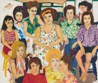 Mimi Gross, <em>Grand Street Girls</em>, 1963. Oil on canvas, 60 x 70 1/4 inches. Courtesy Eric Firestone Gallery.