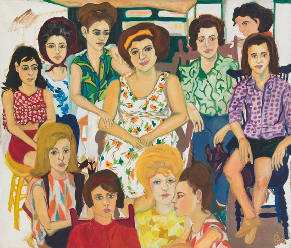 Mimi Gross, <em>Grand Street Girls</em>, 1963. Oil on canvas, 60 x 70 1/4 inches. Courtesy Eric Firestone Gallery.