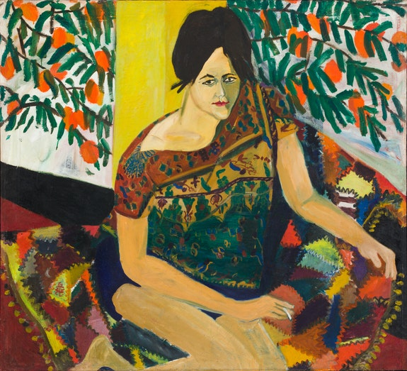 Mimi Gross, <em>Katherine Under the Persimmon Tree</em>, 1961. Oil on canvas, 47 x 51 3/4 inches. Courtesy Eric Firestone Gallery.