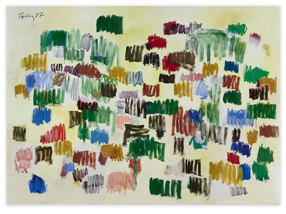 G&uuml;nther F&ouml;rg, <em>Untitled</em>, 2007. Acrylic and oil on canvas, 114 1/8 x 157 1/2 inches. Courtesy Hauser + Wirth.