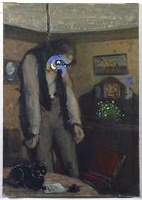 Asger Jorn, <em>Ainsi s'Ensor (Out of this World – after Ensor)</em>, 1962<em>. </em>Oil on canvas (disfiguration/modification), 24 x 17 inches. © Donation Jorn, Silkeborg. Courtesy Petzel, New York.
