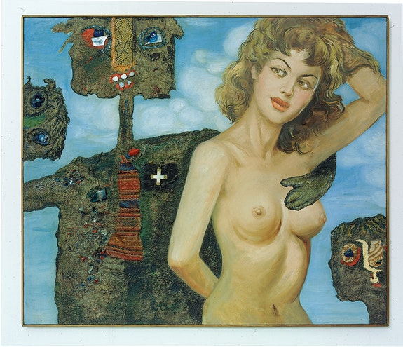 Enrico Baj, <em>Come Here, You Fair Girl, </em>1959<em>. </em>Oil, collage, padding, glass, decoration, fabric on ready-made canvas<em>, </em>35 x 41 inches. Archivio Enrico Baj, Vergiate. Courtesy Petzel, New York.
