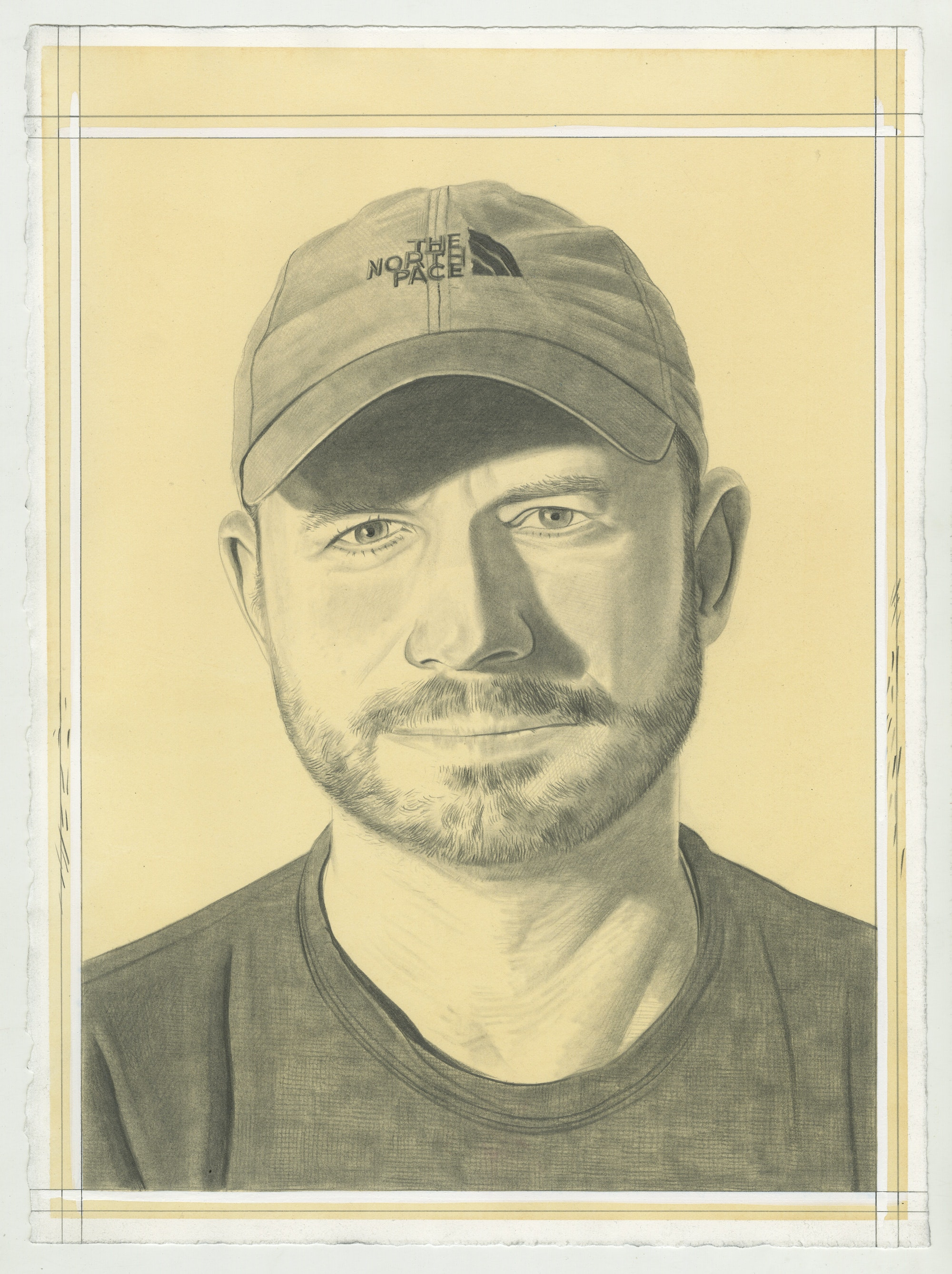Portrait of Justin Brice Guariglia. Pencil on Paper by Phong Bui.