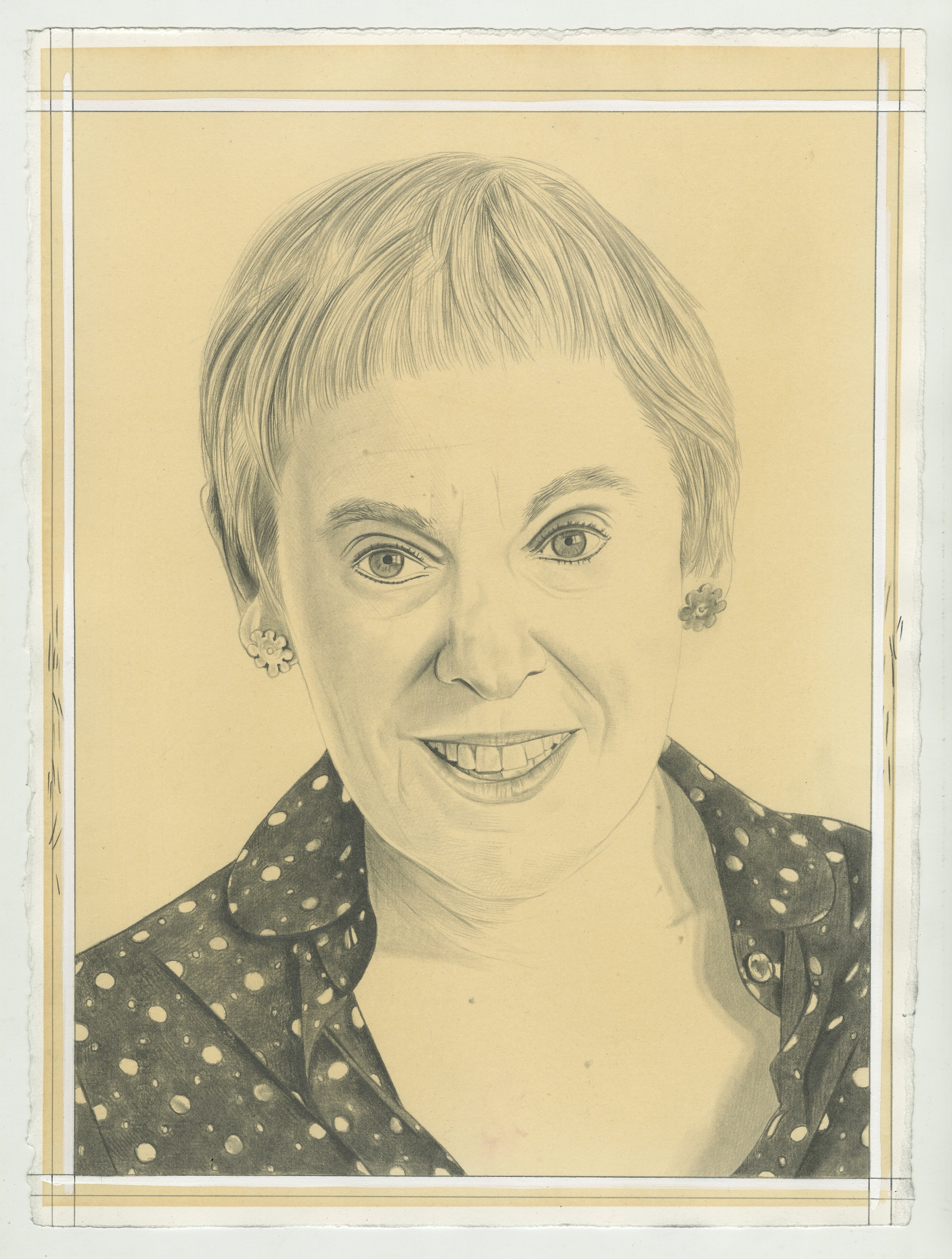 Portrait of Mira Schor. Pencil on paper by Phong Bui.