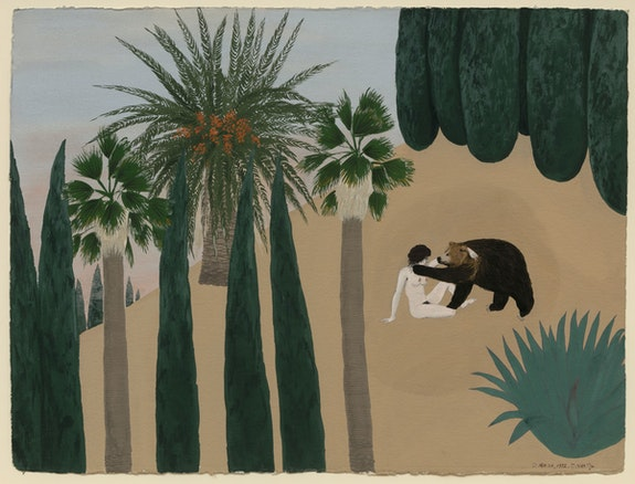 Mira Schor, <em>Bear Triptych, Part I</em>, November 1972-March 1973, Gouache on Arches paper, CalArts, 22 x 30 inches each. Courtesy Lyles & King.