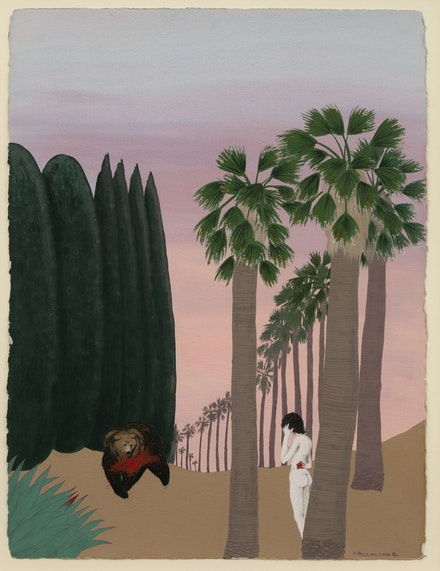 Mira Schor, <em>Bear Triptych, Part II</em>, November 1972-March 1973, Gouache on Arches paper, CalArts, 22 x 30 inches each. Courtesy Lyles & King.