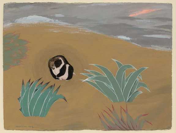 Mira Schor, <em>Bear Triptych, Part III</em>, November 1972-March 1973, Gouache on Arches paper, CalArts, 22 x 30 inches each. Courtesy Lyles & King.