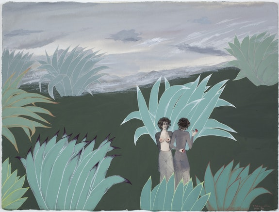 Mira Schor, <em>The Two Miras</em>, February 3-6, 1973, Gouache on Arches paper, CalArts, 22 x 30 inches.&nbsp;Courtesy Lyles &amp; King.