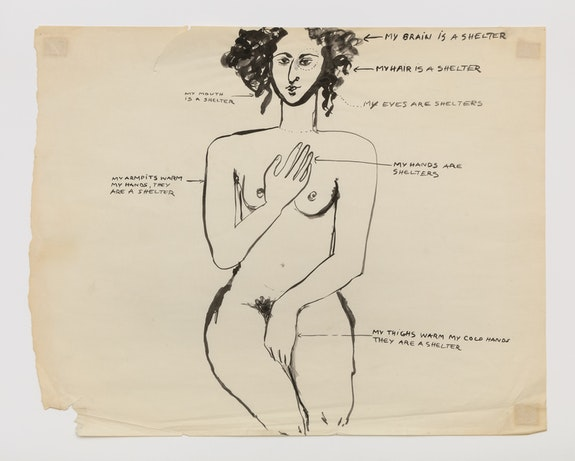 Mira Schor, <em>Feminist Art Program, Class Assignment: Self Image,</em> 1972. CalArts 18.75 x 24 inches. Courtesy Lyles & King.
