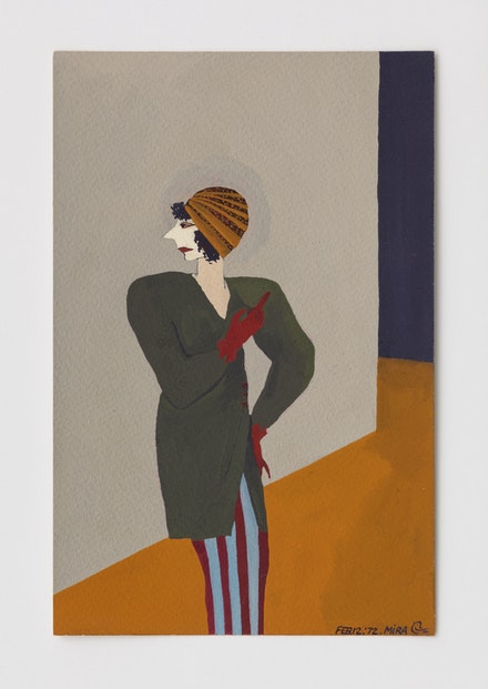 Mira Schor, <em>Untitled</em>, February 12, 1972, Gouache on paper, CalArts, 9.75 x 6.25 inches. Courtesy Lyles &amp; King.