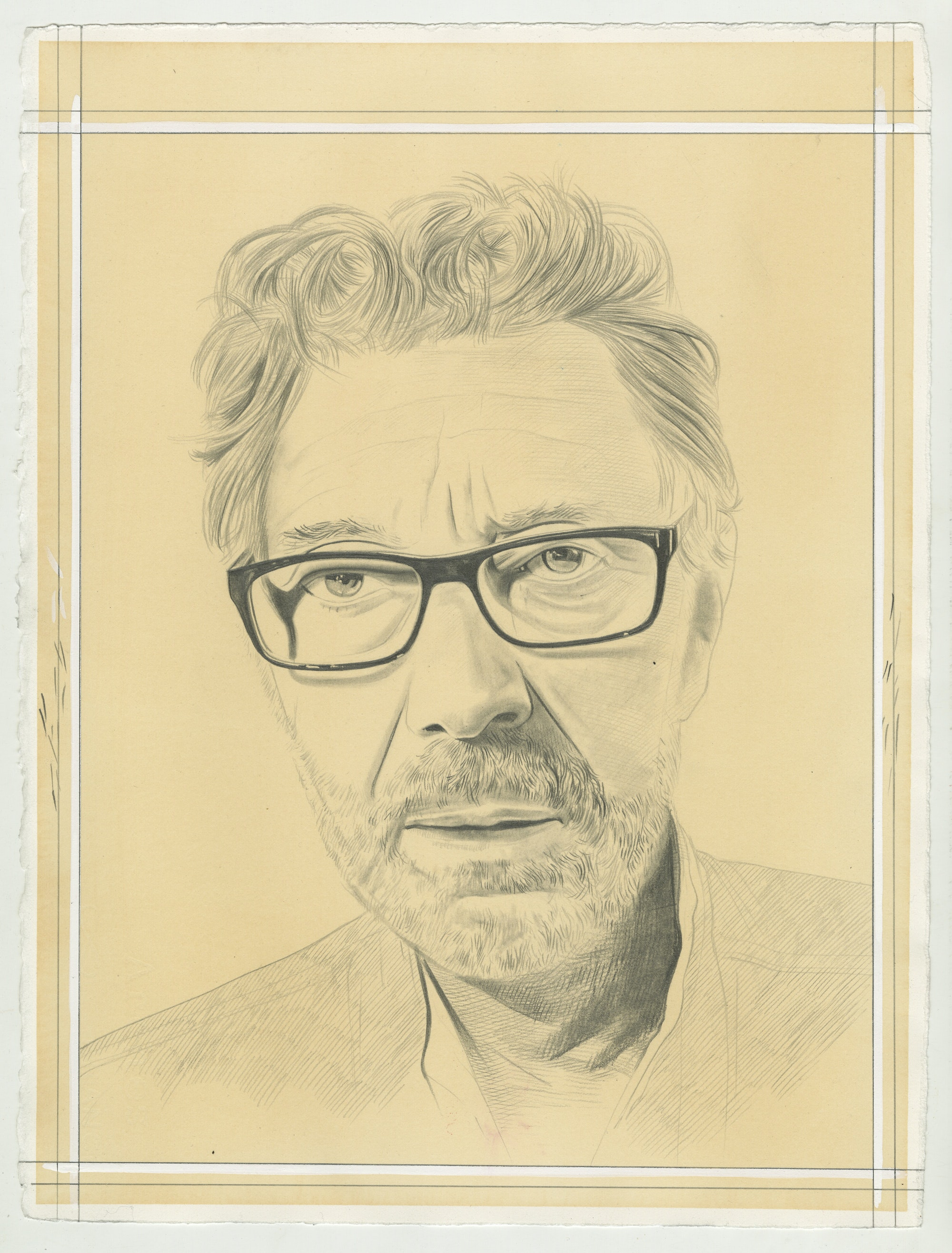 Portrait of Pierre Buraglio. Pencil on Paper by Phong Bui.