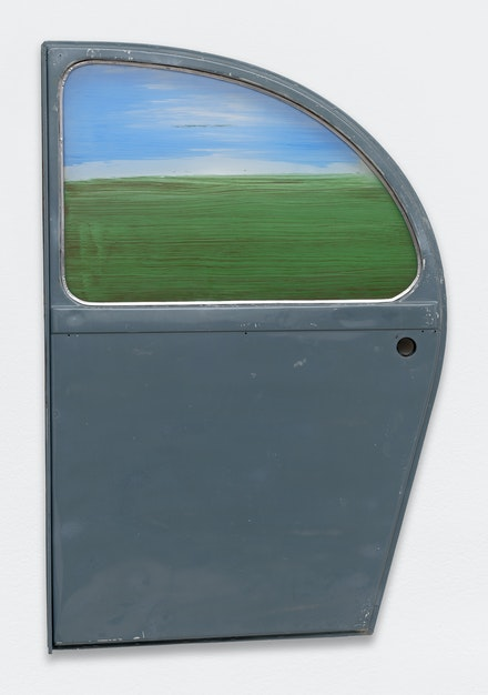 Pierre Buraglio, <em>Paysage - 2CV</em>, 1992. Frond door 2CV, stained glass (Ateliers Loire), 41 x 27 inches. Courtesy Ceysson & Bénétière