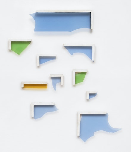 Pierre Buraglio, <em>Brisés</em>, 1985. Broken glasses set in small wooden frames painted white. 33 x 26 inches. Courtesy Ceysson & Bénétière