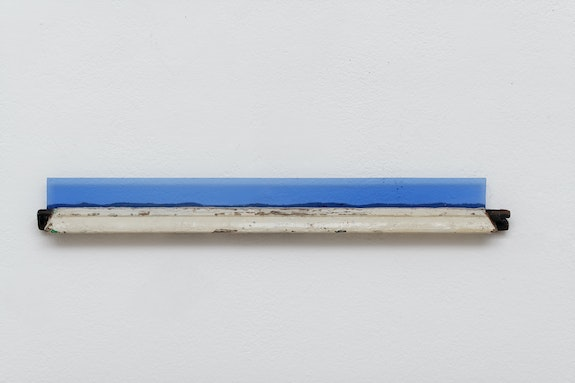 Pierre Buraglio, <em>Petit-bois 1988</em>, 2019. Wood blu glass, Saint-Just mounted on fragment of window frame. 2 x 20 x 2 inches. Courtesy Ceysson & Bénétière