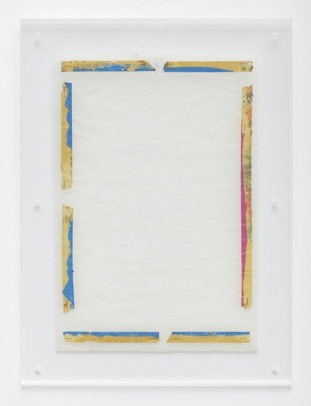 Pierre Buraglio, <em>Masquage Vide</em>, 1978. Masking tape on tracing paper between two plexiglass plates. 22 x 16 in. Courtesy Ceysson & Bénétière.