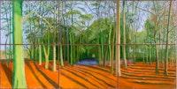 David Hockney, <em>Woldgate Woods, 6 & 9 November 2006</em>. Oil on 6 canvases, 72 x 144 inches overall, © David Hockney, Photo: Richard Schmidt.