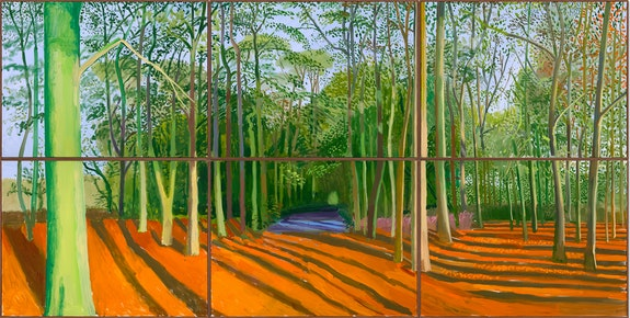 David Hockney, <em>Woldgate Woods, 6 & 9 November 2006</em>. Oil on 6 canvases, 72 x 144 inches overall, © David Hockney, Photo: Richard Schmidt.