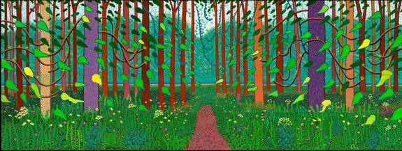 David Hockney, <em>The Arrival of Spring in Woldgate, East Yorkshire in 2011 (twenty eleven)</em>. Oil on 32 canvases, 144 x 38 inches overall, © David Hockney, Photo: Richard Schmidt, Centre Pompidou, Paris. Musée national d'art moderne — Centre de création industrielle.