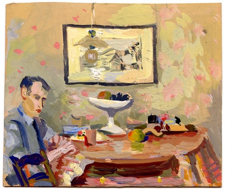 Ilya Schor,  <em>Self-Portrait with Painting</em>, 1941, gouache on paper, 6.85 x 6.75 inches. Courtesy Mira Schor.