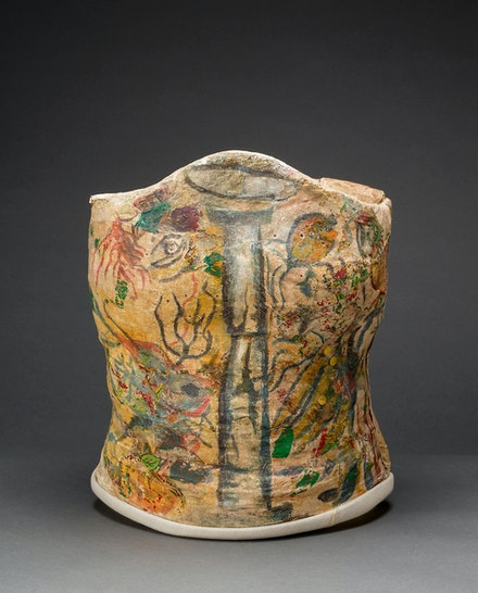 <p>Plaster corset, painted and decorated by Frida Kahlo, Museo Frida Kahlo. © Diego Rivera and Frida Kahlo Archives, Banco de México, Fiduciary of the Trust of the Diego Rivera and Frida Kahlo Museums. Photo: Javier Hinojosa, courtesy of V&A Publishing</p>