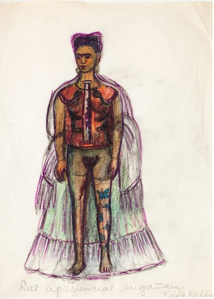 <p>Frida Kahlo, <em>Appearances Can Be Deceiving</em>, n.d. Charcoal and colored pencil on paper, 11 1/4 x 8 inches. © 2019 Banco de México Diego Rivera Frida Kahlo Museums Trust, Mexico, D.F. / Artists Rights Society (ARS), New York.</p>