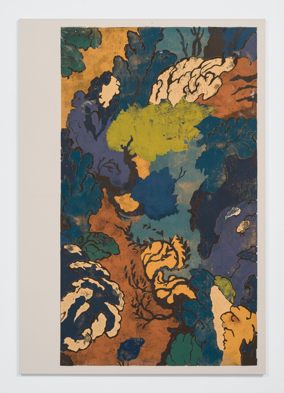 Kour Pour, <em>Persian Landscape (Crop)</em>, 2018. Block printing ink on canvas. 84.25 x 58.5 inches. Courtesy the artist and Ever Gold [Projects].