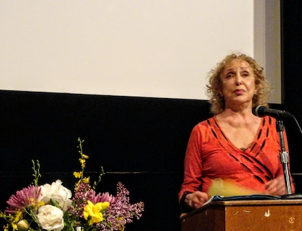 Carolee Schneemann at the tribute to Robert Kelly at Anthology Film Archives, May 2011. Courtesy Robert Kelly and Charlotte Mandell.
