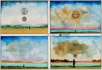 Saul Steinberg, <em>Four Sunsets</em>, 1971. Oil, watercolor, and stamps on paper, 20 x 30 inches. Courtesy Totah Gallery.
