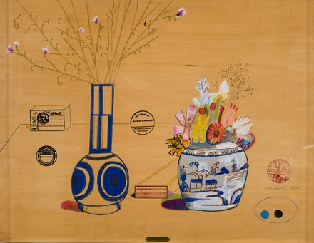 Saul Steinberg, <em>Still Life on Board</em>, 1975. Colored pencil and ink on board, 20 x 26 inches. Courtesy Totah Gallery.